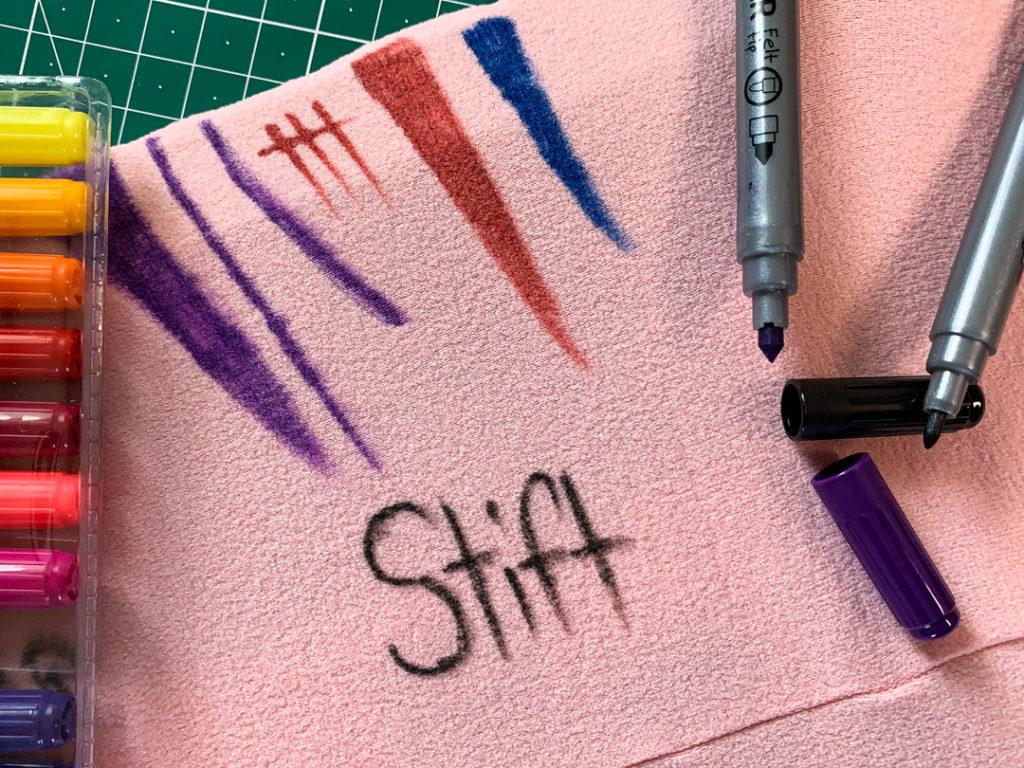 Stoffmalfarbe Stoff bemalen Strumpfhose Stift