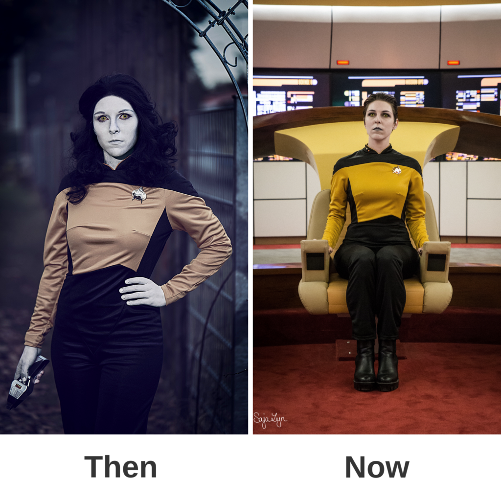 Cosplay SajaLyn Kritik Glow Up Data Genderbend Rule 63 Crossplay female weiblich Data Star Trek das nächste Jahrhundert Next Generation Commander